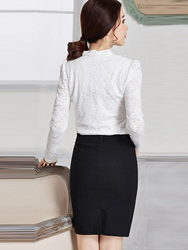 Chic Falbala Collar Slim Lace Work Blouse
