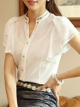 Sequins Decoration Collar Ruffle Sleeves Work Blouse