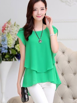 Special Double Layer Hem Slim Work Blouse