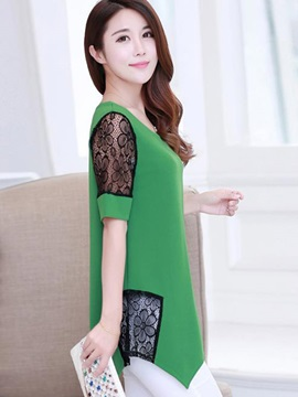Chic Lace Short Sleeves Slim Blouse