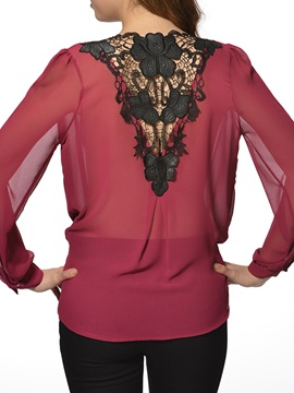 Chic V-Neck Lace Back Blouse