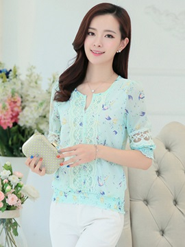 Chic Lace Decoration Sleeves Short Blouse