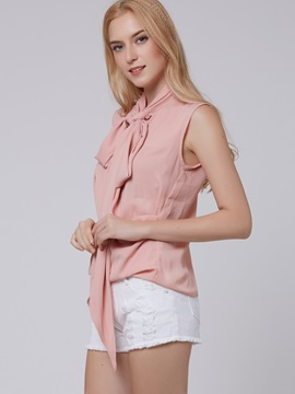 Stylish Hem and Collar Slim Blouse
