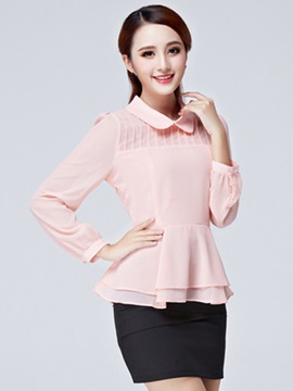 Special Hem See-through Sleeves Blouse