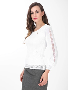 Special Lace Decoration Sleeves Work Blouse