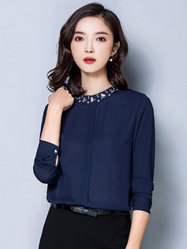 Pure Color Bead Collar Blouse
