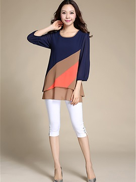 Chiffon Contrast Color Layered Blouse