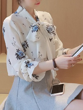 Lace-up Collar Print Blouse