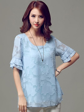 Special Fabric Short Sleeves Blouse