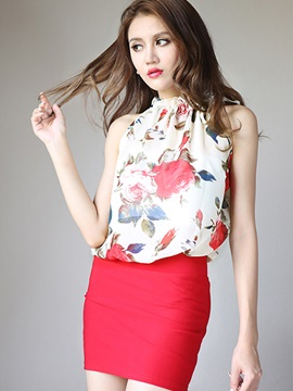 Special Lace-up Collar Floral Printed Tank Top