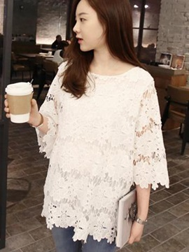 Chic Three-Quarter Sleeves Lace Blouse