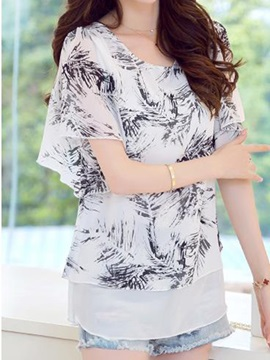 Special Pattern Double-Layer Blouse