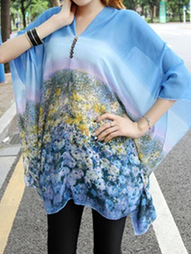 Stylish Batwing Sleeves Floral Printed Loose Blouse