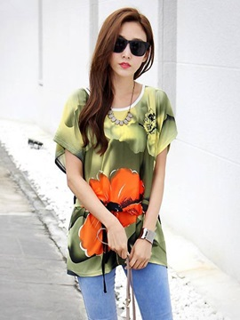 Stylish Floral Printed Loose Blouse