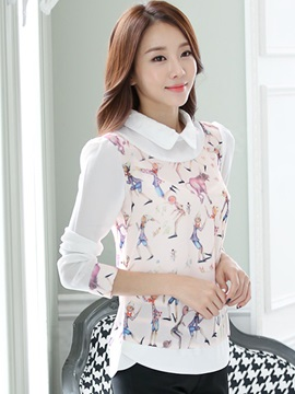 Chic Collar Special Pattern Blouse