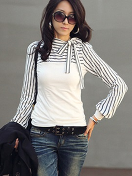 Stylish Lace-up Collar Stripe Sleeves Blouse