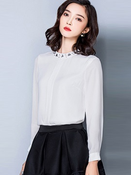 Chic Sequins Decoration Collar Slim Blouse