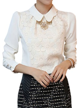 Special Flower Pattern Slim Work Blouse