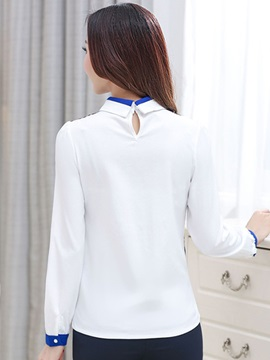 Chic Collar Special Pattern Slim Blouse
