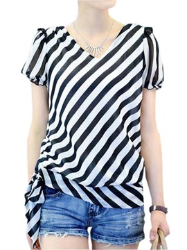 Stylish Lace-up Hem Stripe Blouse