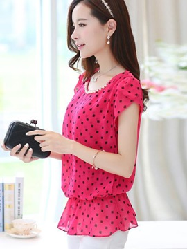 Chic Bead decoration Collar Polka Dots Work Blouse