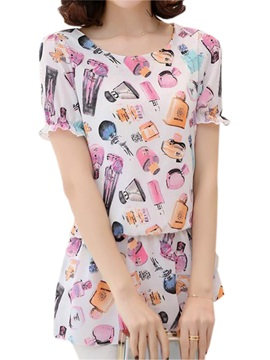 Special Perfume Bottle Printing Loose Blouse