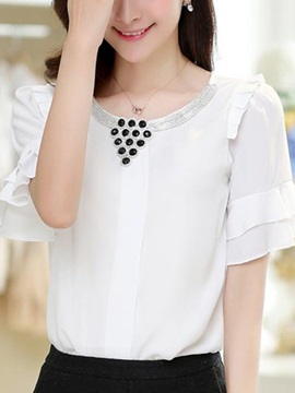 Stylish Ruffle Sleeve Loose Blouse