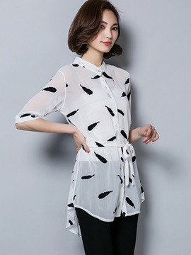Chic Feather Printing Single-Breasted Blouse