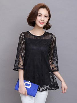 Plaid Hollow Polka Dots Decoration Work Blouse