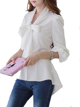 Solid Color Bow Knot Women's Blouse
