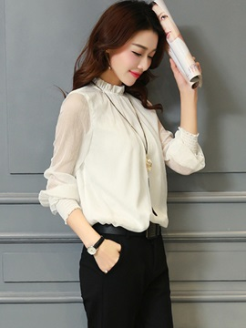 Chic Pleated Collar See-through Sleeves Blouse