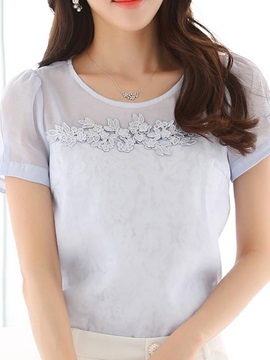 Elegant Embroidery Round Neck Blouse