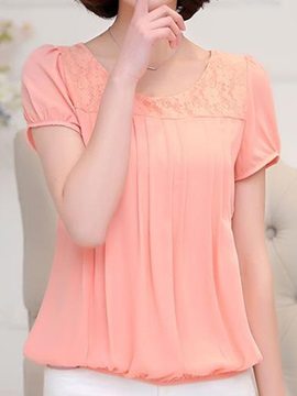 Chic Lace Flower Short Sleeve Loose Blouse