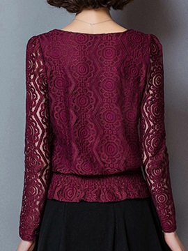 Special Hem See-through Lace Sleeves Blouse