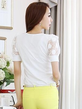Chic Bead Decoration Collar Slim Blouse