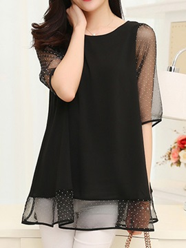 See-through Sleeves and Hem Blouse