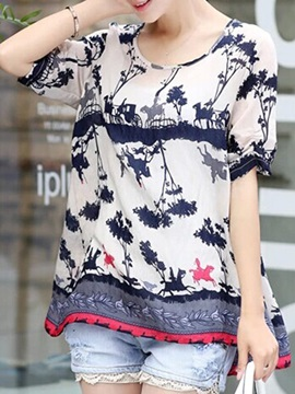 Chic Printed Loose Short Sleeve Blouse