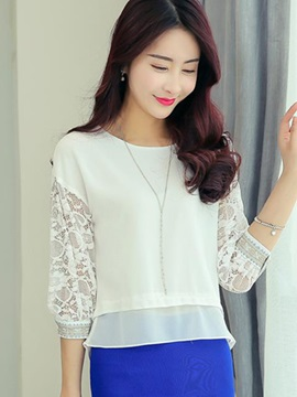 Stylish Hollow Lace Half Sleeves Short Blouse