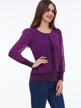 Special Falbala Decoration Chiffon Blouse