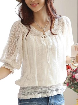 Chic Lace-up Collar Short Lace Blouse