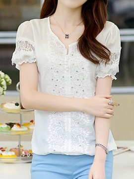 Stylish Sequins and Lace Decoration Short Blouse
