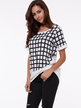 Stylish Hem White and Black Blouse