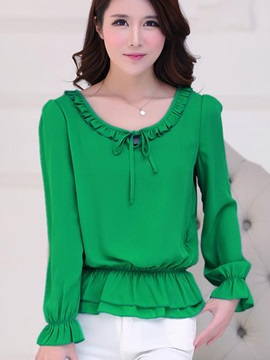 Chic Pleated Decoration Short Blouse