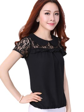 Special Peter Pan Collar Lace Sleeves Blouse
