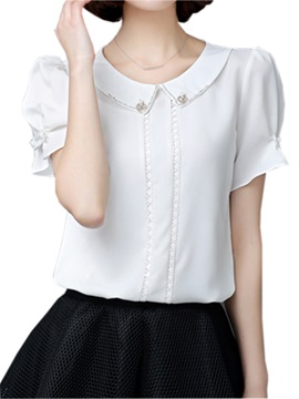 Stylish Peter Pan Collar Slim Blouse