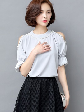 Stylish Bead Decoration off-Shoulder Blouse