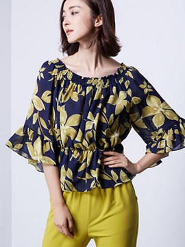 Ladylike Pattern off-Shoulder Blouse
