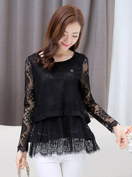 See-through Lace Sleeves Double-Layer Hem Blouse