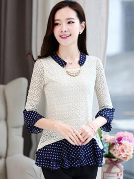 Chic Polka Dots Collar and Hem Blouse
