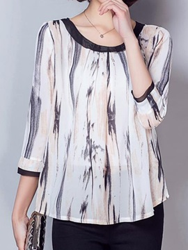 Stylish Pattern Three-Quarter Sleeves Blouse